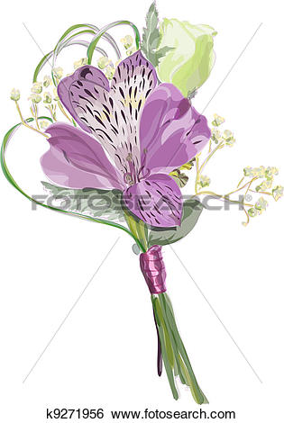 Clip Art of Boutonniere with Alstroemeria and Eustoma. k9271956.