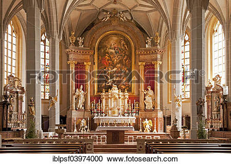 "Stock Photography of ""Interior and altar, Parish church of St."