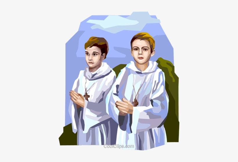 Boys Preparing For First Communion Royalty Free Vector.