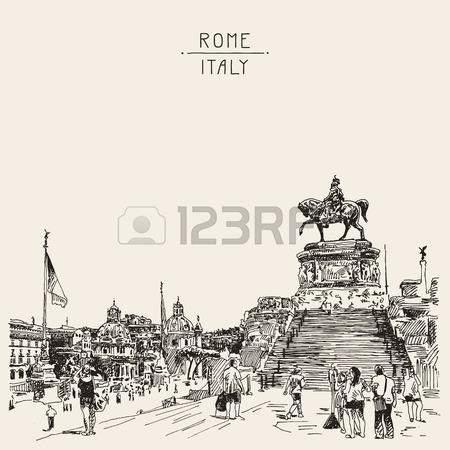 Disegno A Mano Schizzo Di Piazza Venezia A Roma.