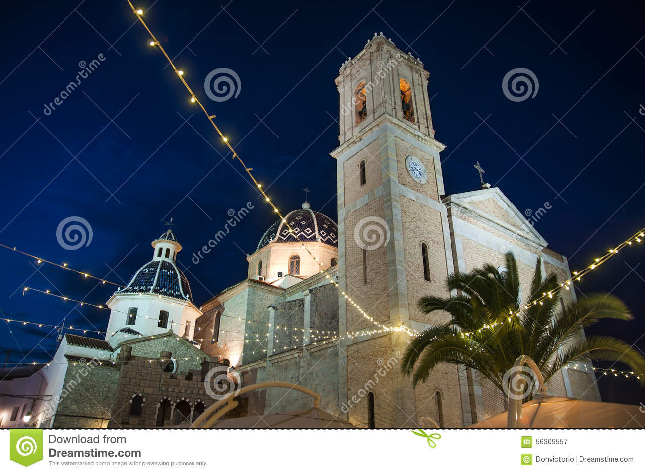 Altea, Spain. Church In Old Town By Night. Stock Photo.