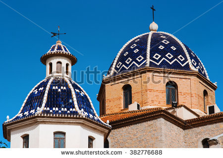 Altea Church Old Spain Stock Photos, Royalty.