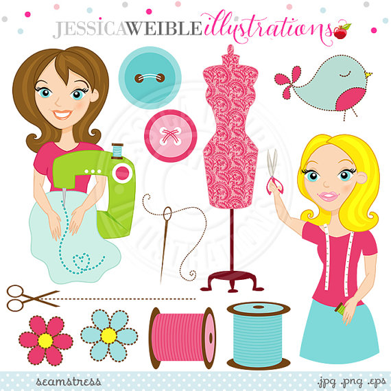INSTANT DOWNLOAD, cute sewing clipart, button clip art, button.