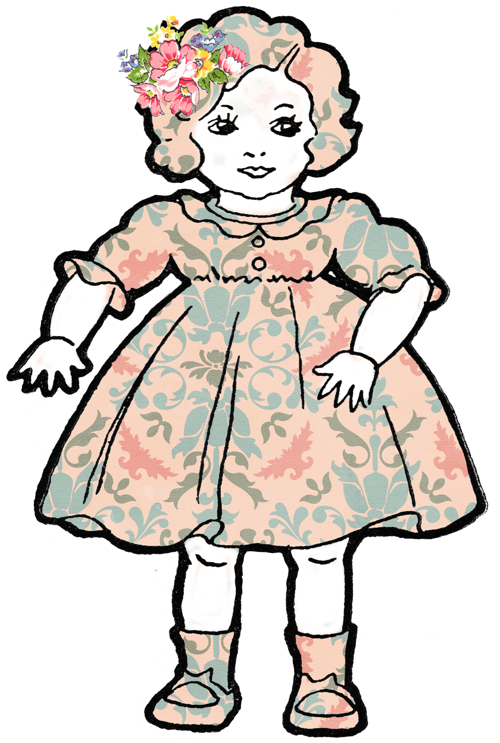 Adorable Altered Art Shabby Dolls Vintage Clip Art.