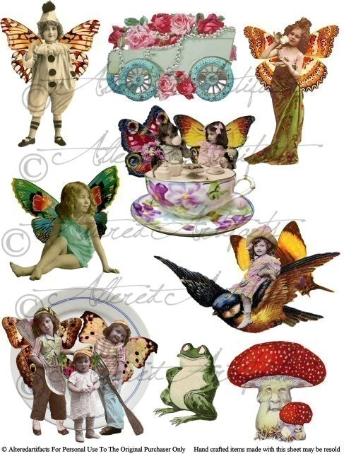 Instant Download Fairyland Frolics Digital Altered Art Collage.