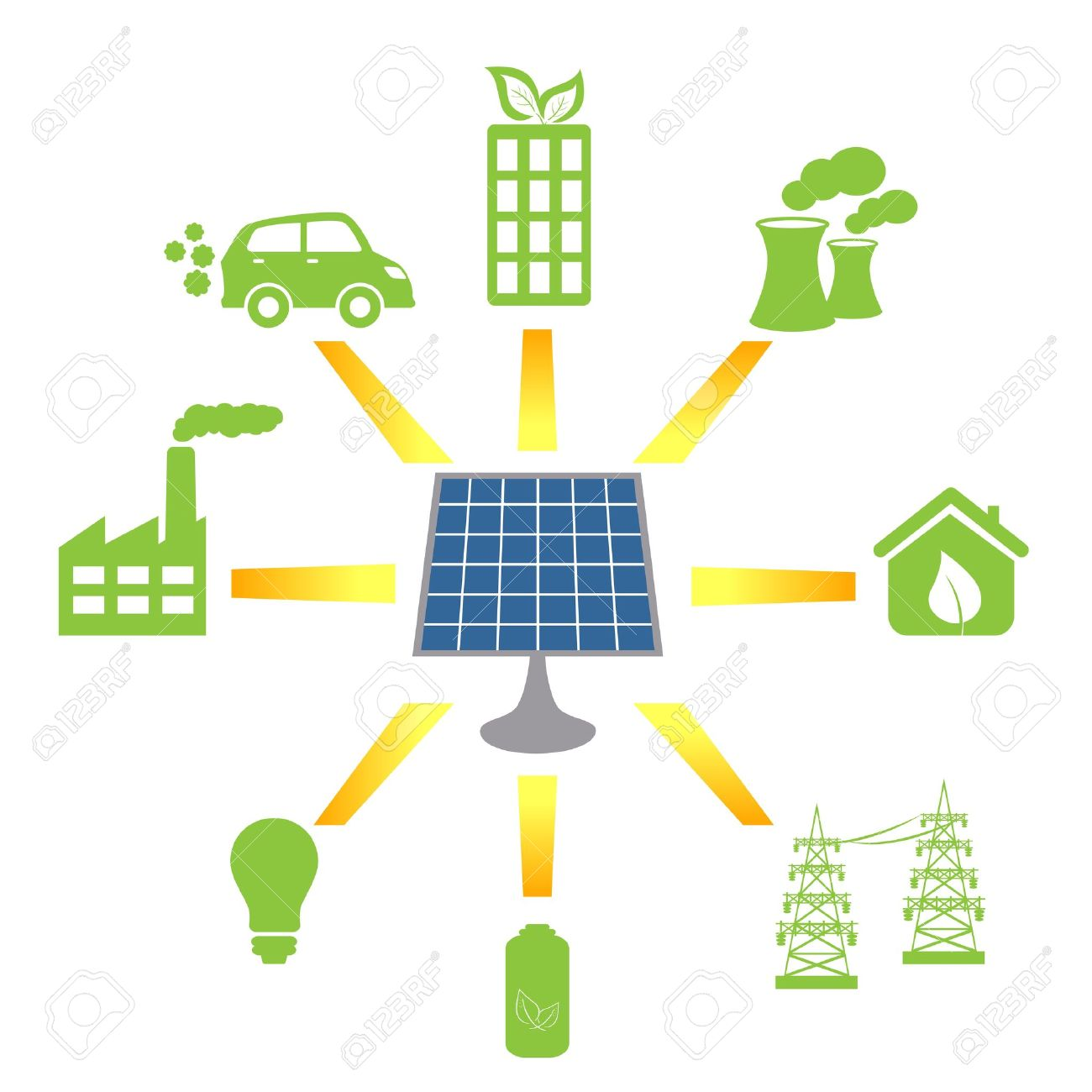 Solar Panel Generating Clean Alternative Energy And Fuel Royalty.