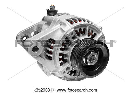 Picture of car alternator on a white background k35293317.