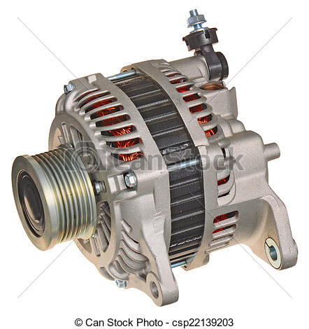 Stock Photography of car alternator isolated in white csp22139203.