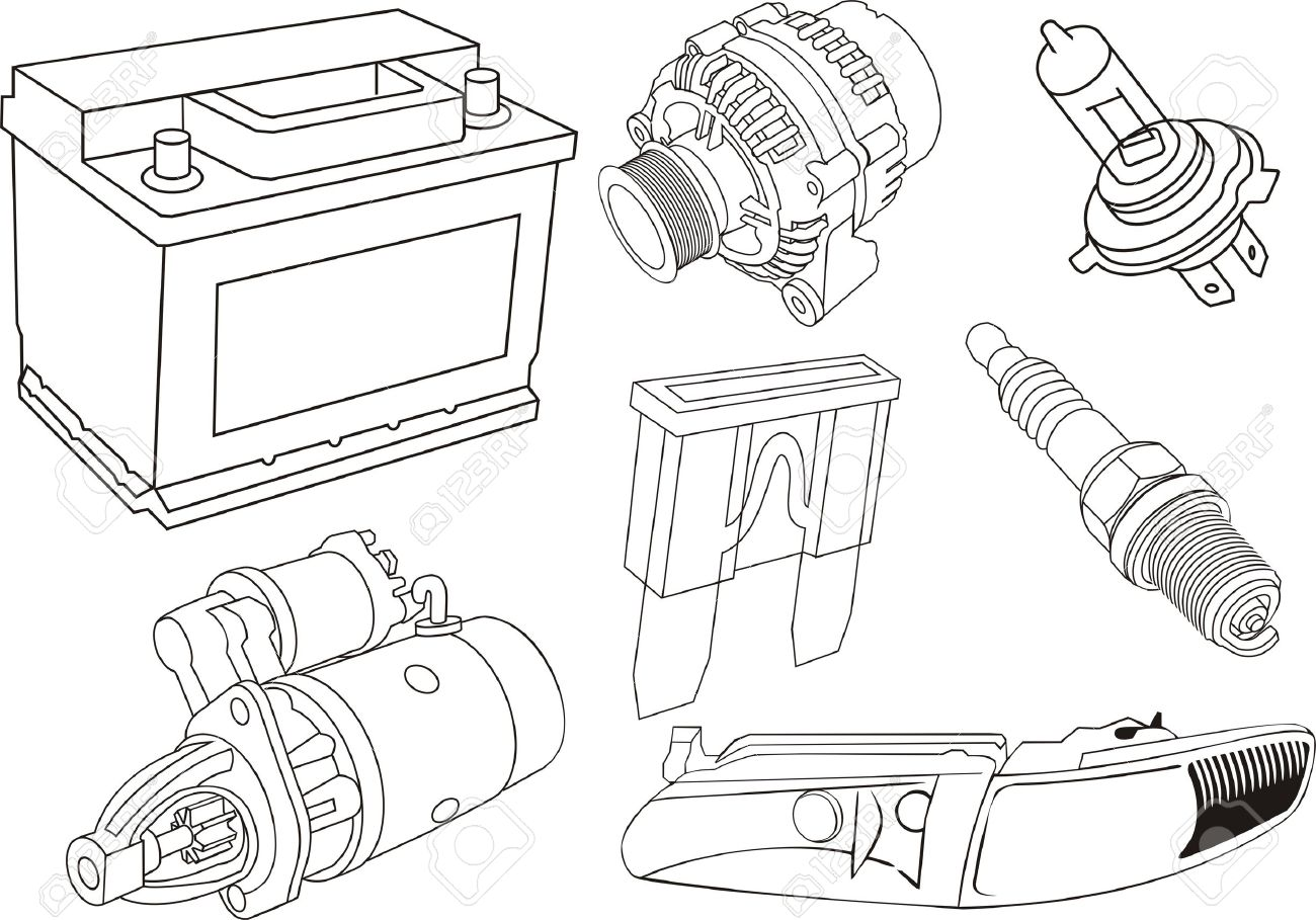 Set Of Car Part Contours Royalty Free Cliparts, Vectors, And Stock.