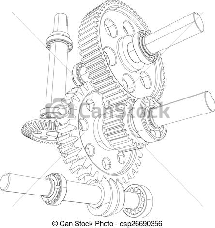 Clipart Vector of Reducer consisting of gears, bearings and shafts.