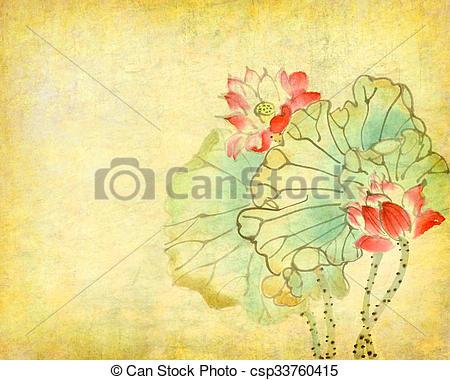 Clipart von altes, chinesisches, lotos, Papier, hintergrund.