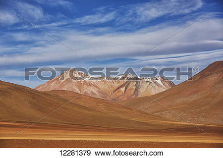 Stock Photograph of The surreal landscape of Bolivia's Altiplano.