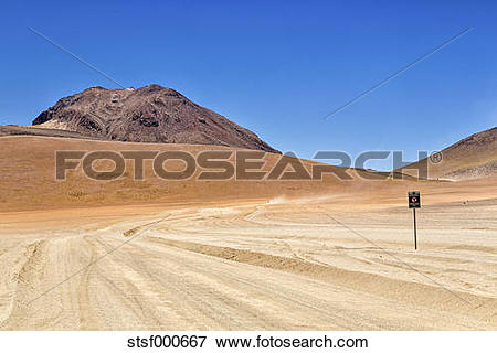 Picture of Bolivia, Andes, dirt road at Altiplano highland region.