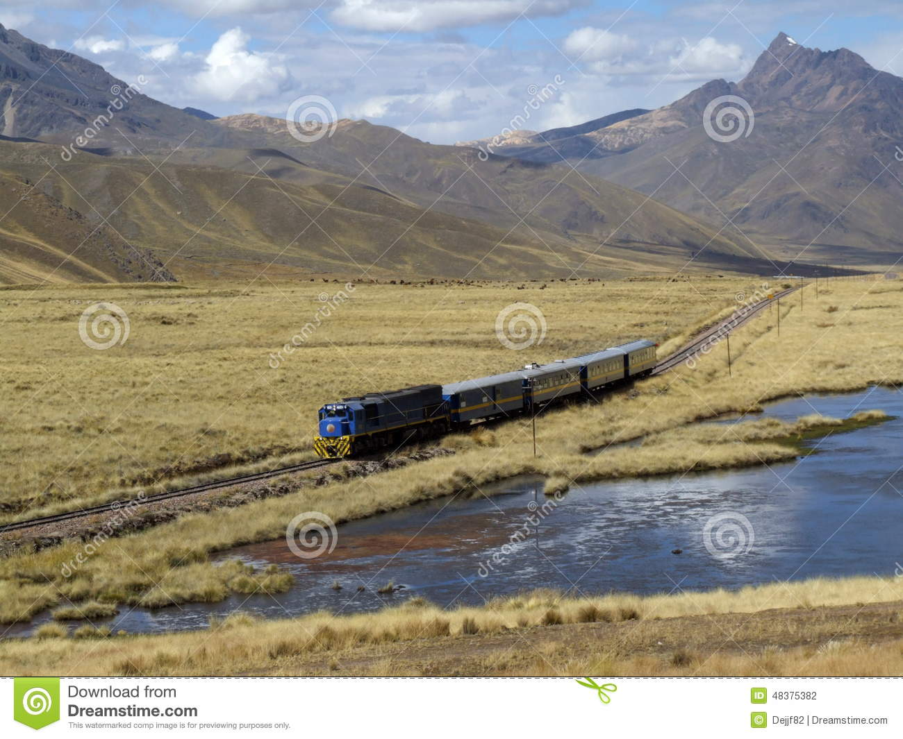 Train Goes Through Altiplano, Puno Region, Peru Stock Photo.