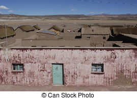 Stock Photography of desert village altiplano Bolivia.