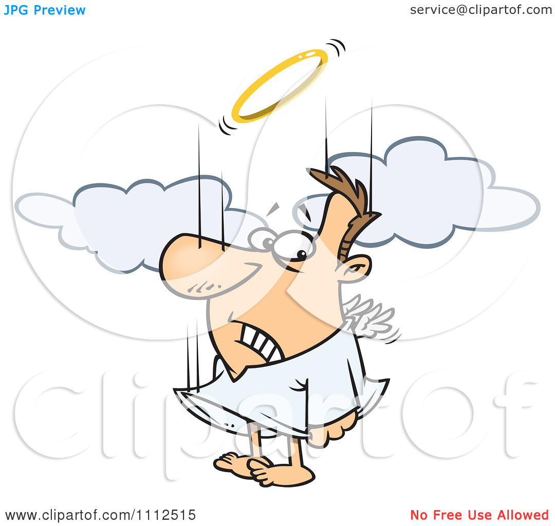 Clipart Falling Male Angel Trying To Flap His Tiny Wings To Gain.