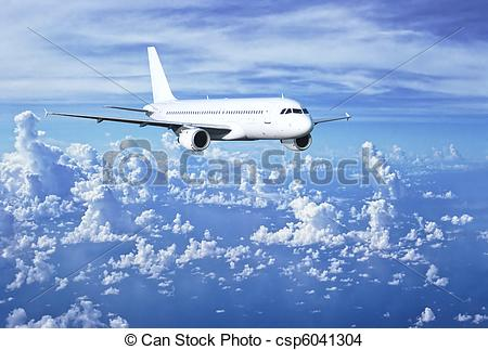 Stock Photo of Airbus above clouds.