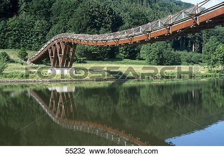 Stock Photo of Wooden bridge across river, Altmuhl River, Bavaria.
