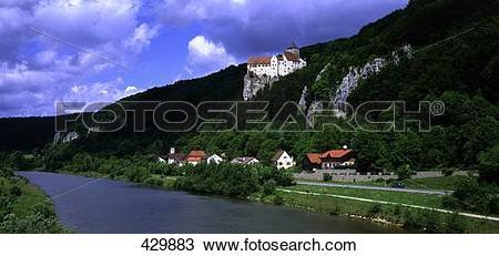 Stock Photo of Castle at hillside, Castle Prunn, Altmuehl Valley.
