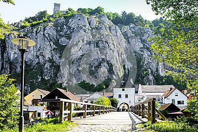 Essing Germany, Limestone, Old Wooden Bridge Stock Photo.