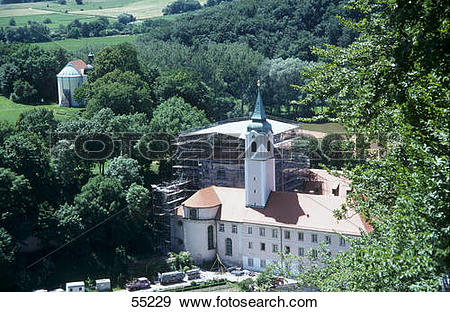 Stock Photograph of High angle view of monastery, Weltenburg.