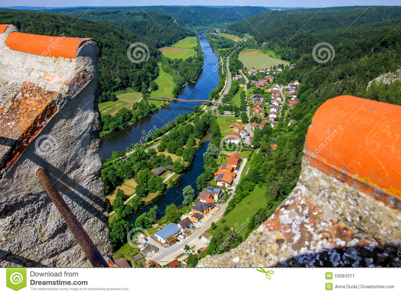 Essing Germany, Altmuehl Valley, Top View From Castle Stock Photo.