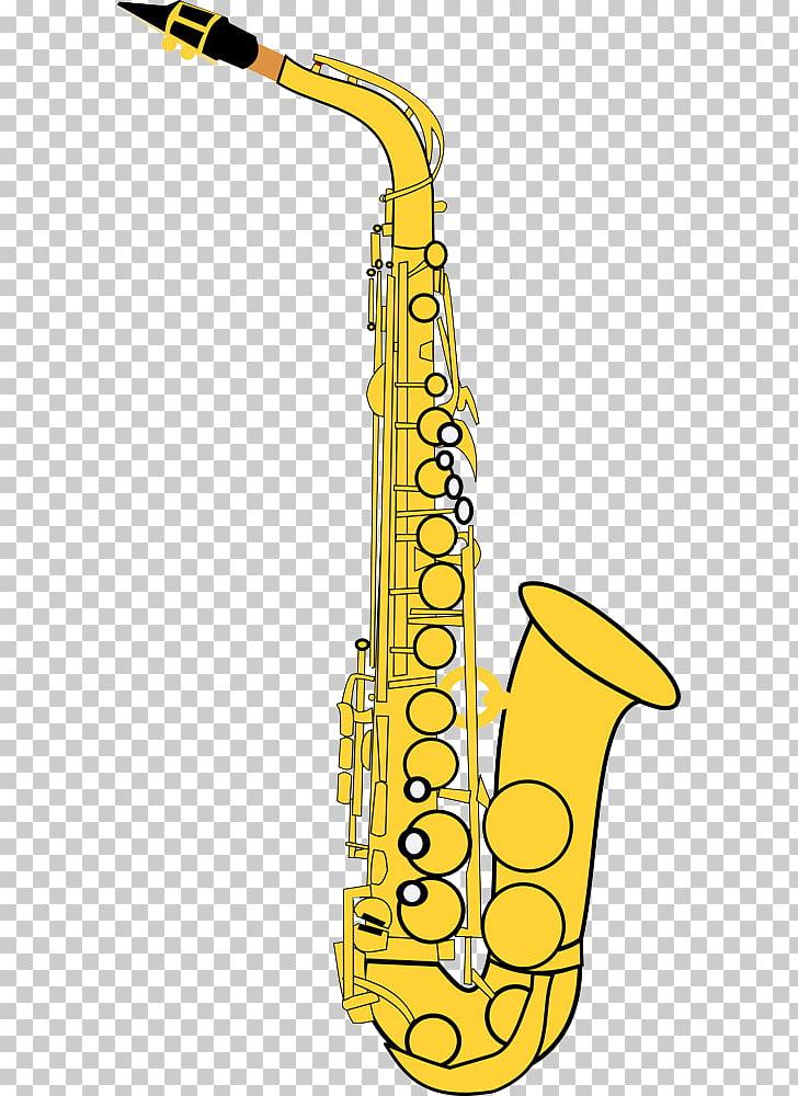 Alto saxophone , Golden saxophone cartoon PNG clipart.