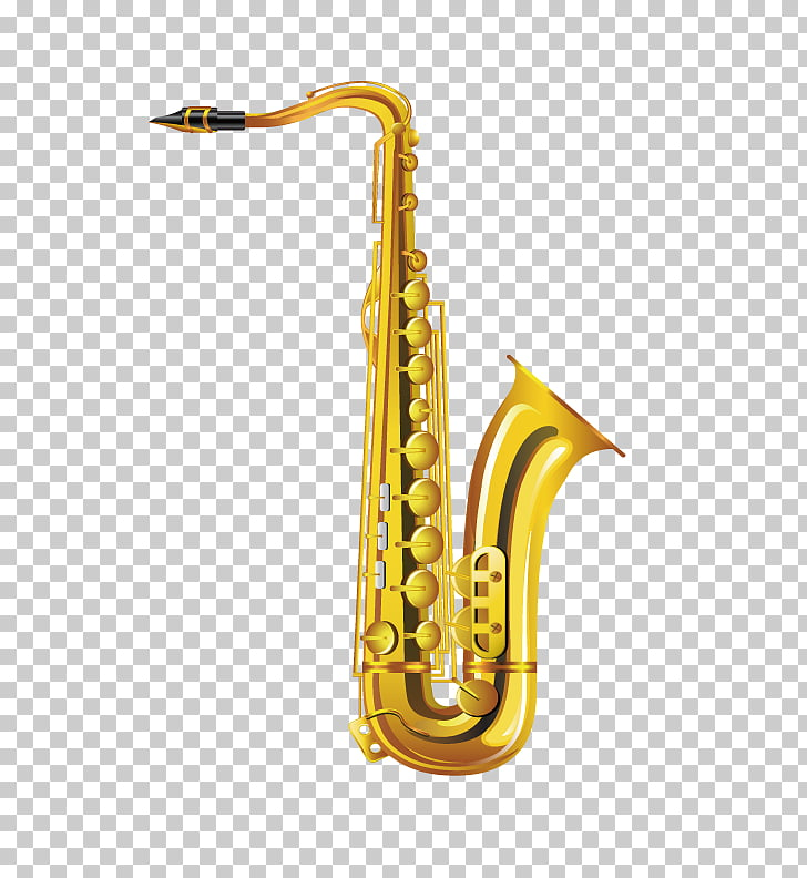 Alto saxophone Musical instrument Drawing, Gold saxophone.