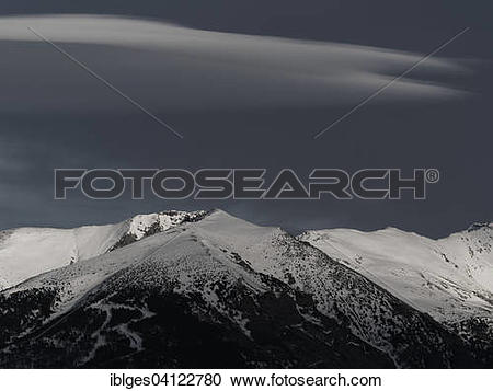 Stock Photography of Pic du Geant with Altocumulus lenticularis.