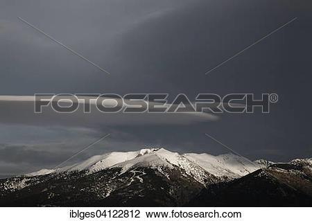 Stock Photo of Pic du Geant with Altocumulus lenticularis cloud.
