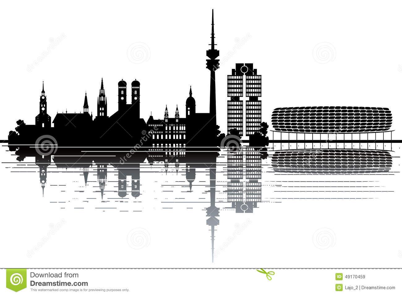 Munich Skyline Stock Vector.