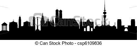 Clip Art Vector of Munich Silhouette black abstract csp6109836.