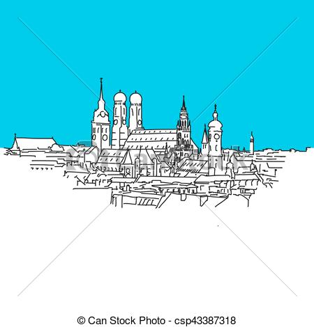 Vector Clip Art of Munich panorama, Blue Series, Hand.