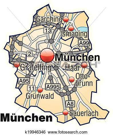 Clip Art of Map of Munich k19946346.