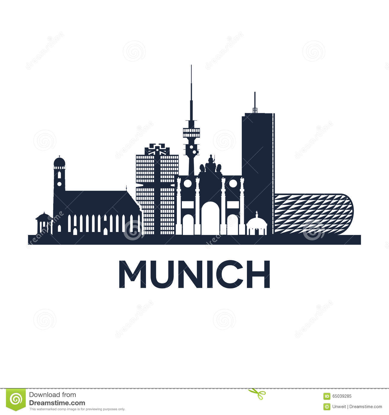 Munich Skyline Stock Illustrations.