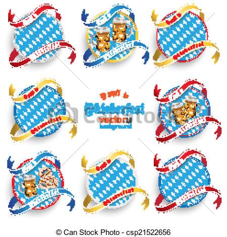 Clipart Vector of Munich Oktoberfest Round Prongs Emblems Set.