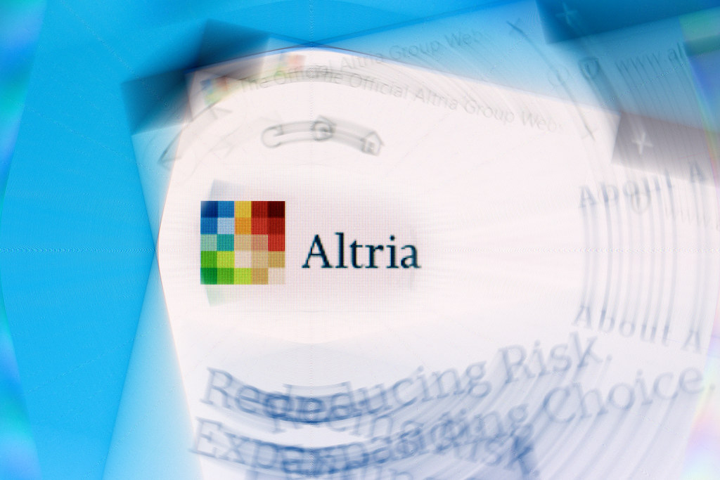 Altria Group logo on company website displayed on computer.