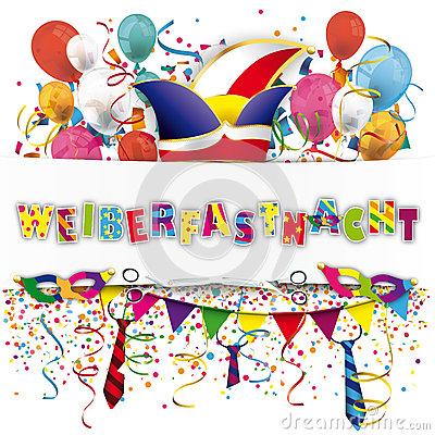 Weiberfastnacht Balloons Confetti Stock Vector.