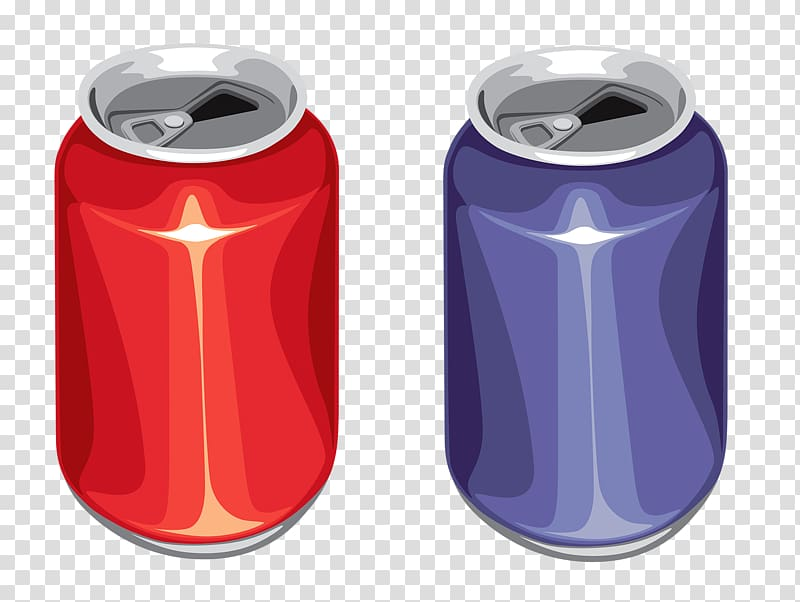 Red and blue cans illustration, Aluminium Aluminum can Beverage can.