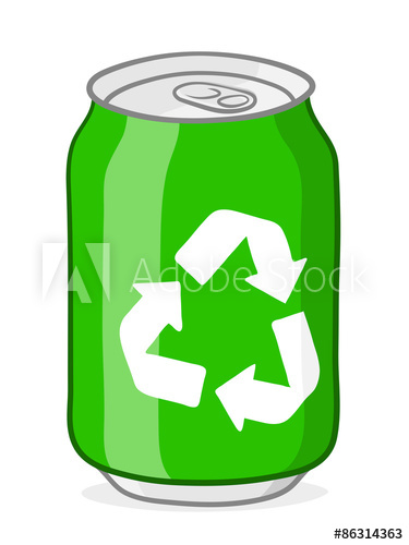 Green recycling soda can.
