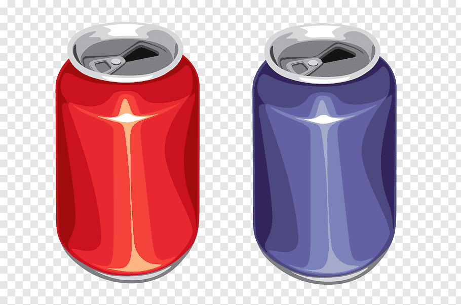 Red and blue cans illustration, Aluminium Aluminum can.