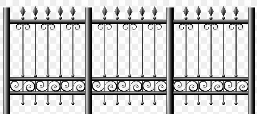 Picket Fence Iron Railing Clip Art, PNG, 7085x3168px, Fence.