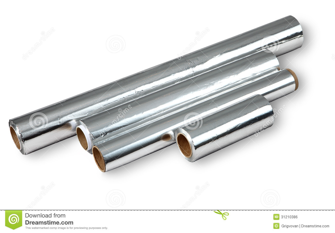 Aluminum Foil For Cooking And Storing Food, Four Rolls. Royalty.