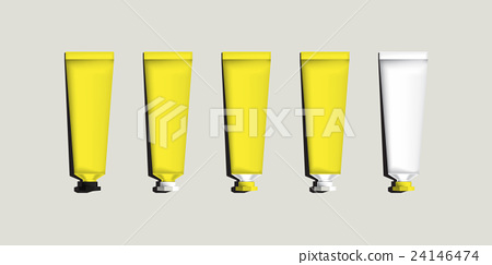 Yellow set of Aluminum tubes for packaging.