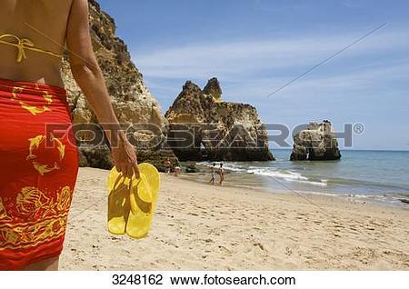 Stock Photo of Praia dos Tres Irmaos, Alvor, Algarve, Portugal.