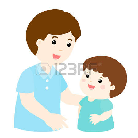Dad Talking To Son Clipart.