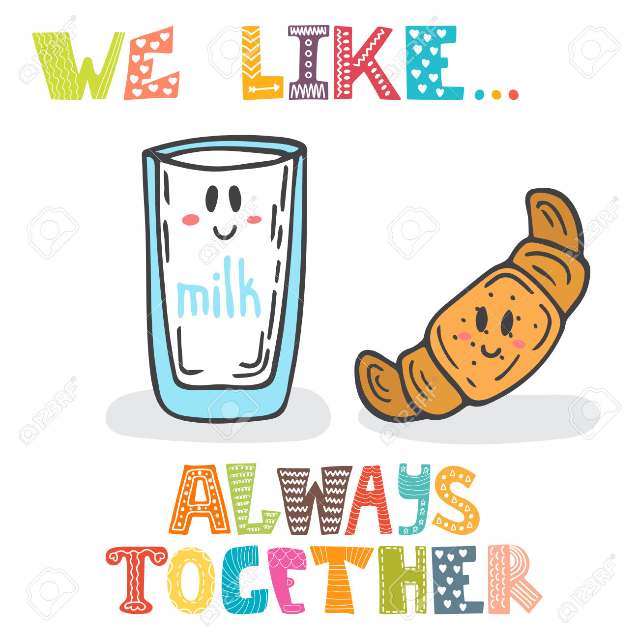 We Like Always Together. Cute Characters Glass Of Milk And.