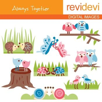 Clip art: Always together (animals in pair) pink, blue, 07150.