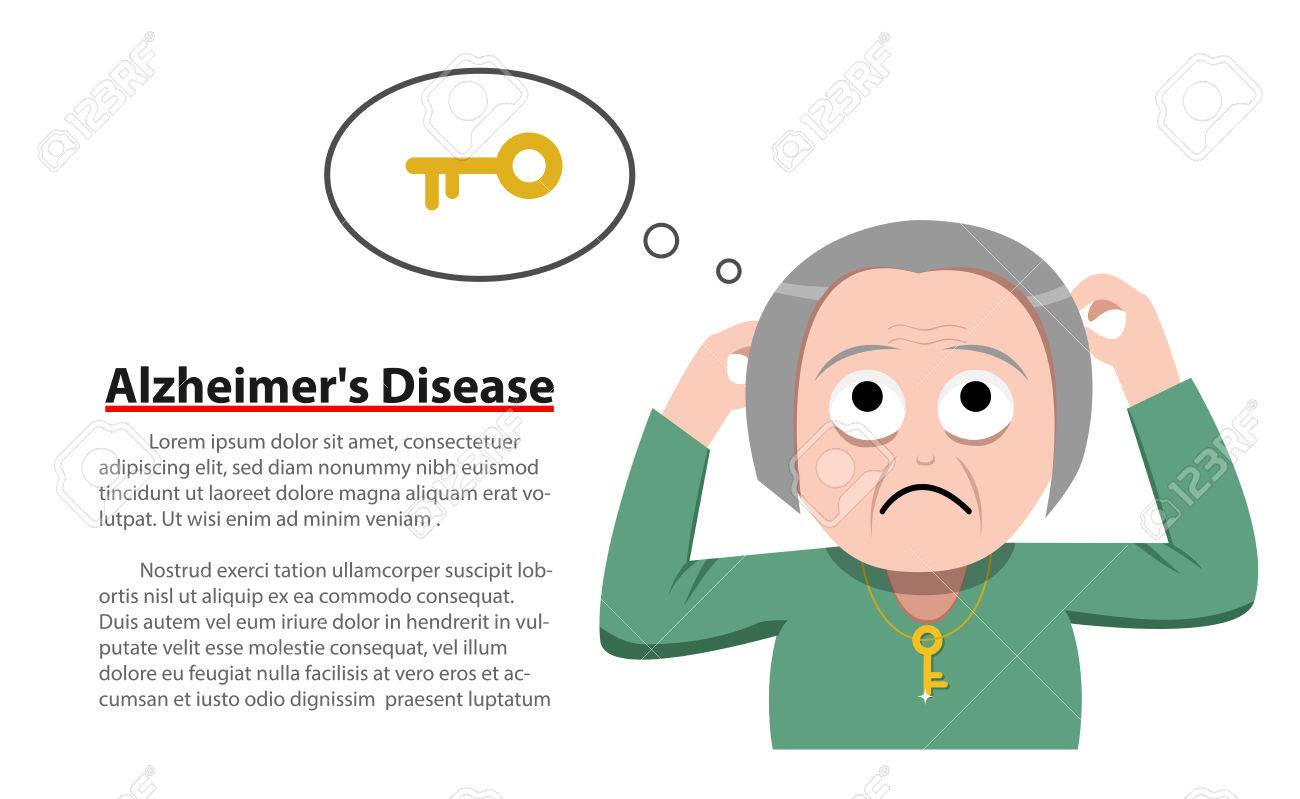 Alzheimer\'s Disease in old woman, vector » Clipart Station.