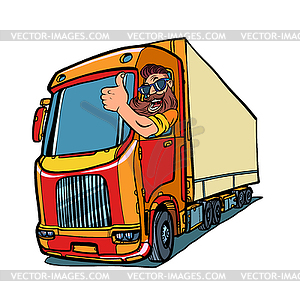 Truck driver. man with beard thumbs up.
